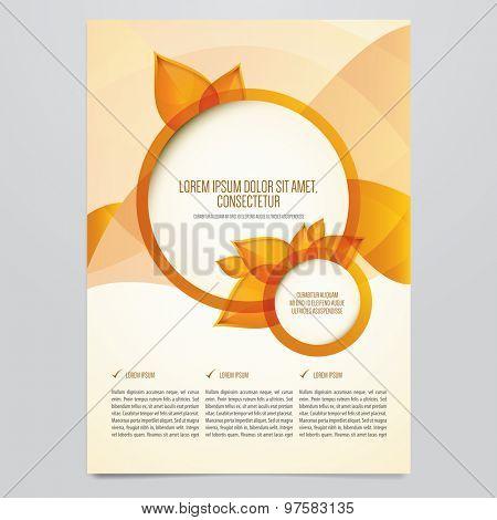 Vector autumn brochure, flyer template. Modern orange leaves design.