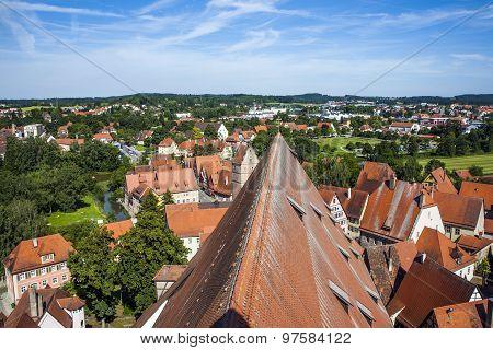Aerial Of Old Medieval City Of Dinkelsbuehl, Germany