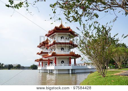 The Twin Pagoda At The Chinese Garden Of Singapore