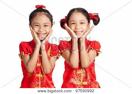 Asian Twins Girls In  Chinese Cheongsam Dress