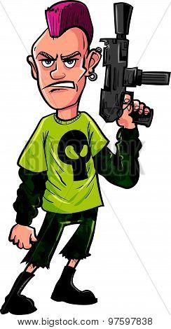 Cartoon punk with machine gun