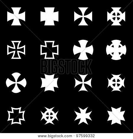 Vector white choppers crosses icon set on black background poster