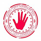 illustration of a Grungy Stamp for Happy Left Handers Day. poster
