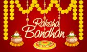 Elegant greeting card with traditional mud pot, oil lit lamps, floral rangoli and beautiful flowers for Indian festival of brother and sister love, Happy Raksha Bandhan celebration. poster