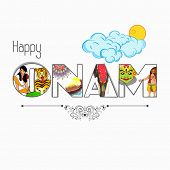 Stylish text Onam presenting South Indian culture on clouds decorated shiny background. poster