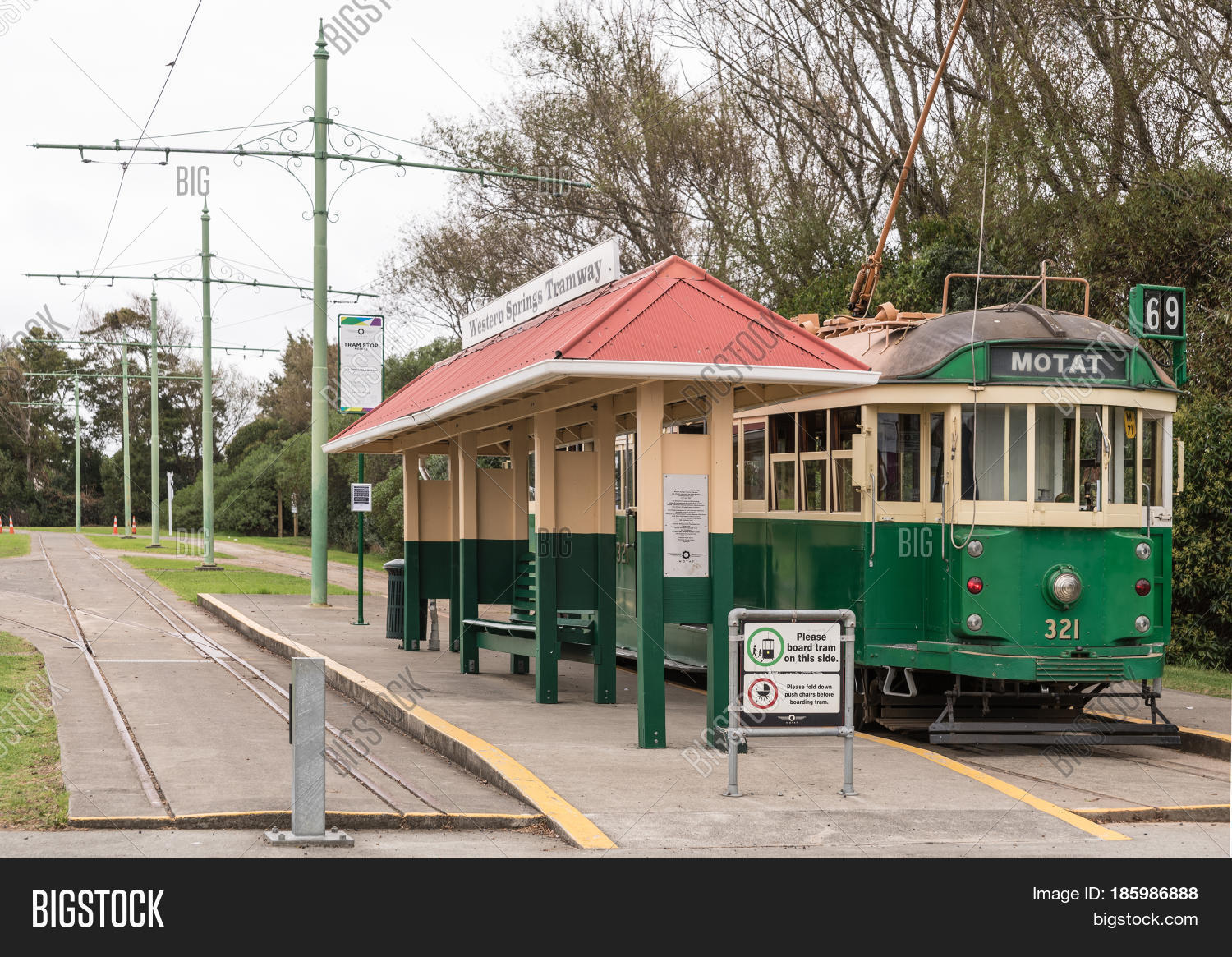 Auckland New Zealand Image Photo Free Trial Bigstock Electrical Wiring Board Nz March 5 2017 Green And Yellow Antique Tramway At Its Stop
