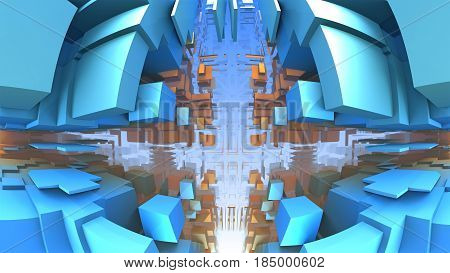 Blue geometric shapes floating in space, 3D rendering Labyrinth or Maze