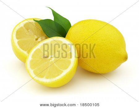 Lemon with leaves