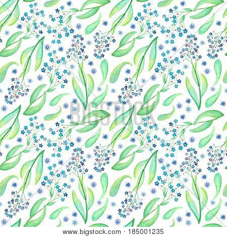 Blue flower seamless pattern. Hand-painted watercolor floral illustration. Forget-me-not blooming pattern tile. Whimsical flowers and leaves. Spring nature botanics pattern for textile paper wedding