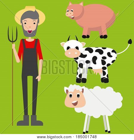 Farmer set. Flat design. Vector. Set of different farmer animals and farmer.