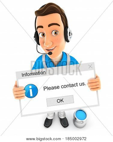 3d painter holding contact message illustration with isolated white background