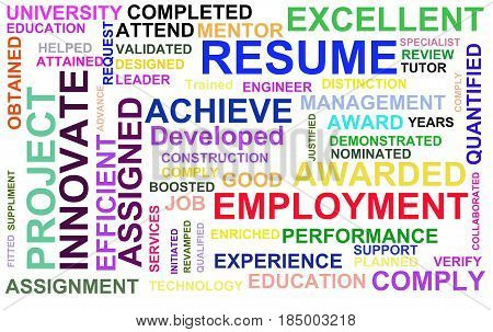Resume powerful words illustration high resolution digital.