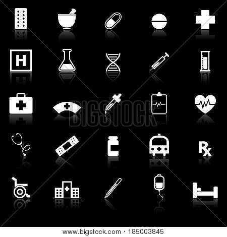 Pharmacy icons with reflect on black background, stock vector