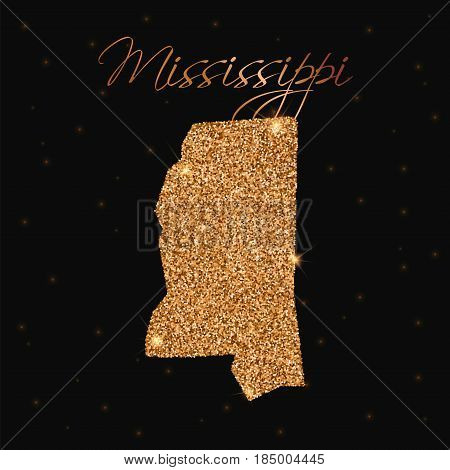 Mississippi State Map Filled With Golden Glitter. Luxurious Design Element, Vector Illustration.