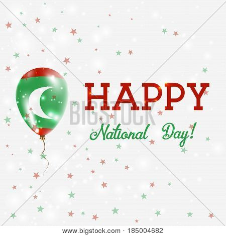 Maldives National Day Patriotic Poster. Flying Rubber Balloon In Colors Of The Maldivan Flag. Maldiv