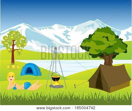 Tents and campfire ashore lake by summer