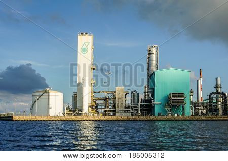 Labuan,Malaysia-May 1,2017:View of the Oil and gas,oil refinery,refinery plant,refinery factory petrochemical plant in Labuan,Malaysia on 1st May 2017.