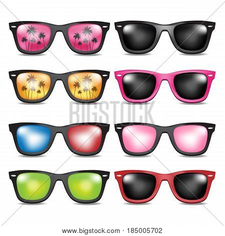 sunglasses. glossy. summer. beach .sun. vector illustration