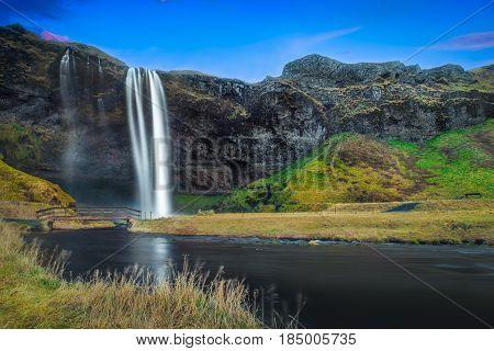 Long exposure of the Seljalandsfoss. Waterfall in Iceland.