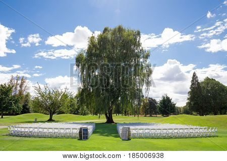 Wedding venue at a golf course with white chairs for the guests and a beautiful weeping birch tree as the main focal point of the ceremony.