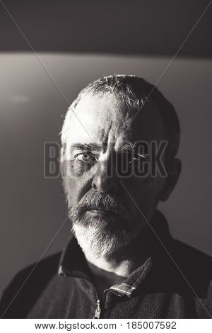 Vintage Portrait Of A Bearded Man, Black And White