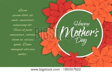 Happy mother's day layout design with flowers. Vector illustration. Feminine design for menu, flyer, card, invitation with text area for your message.