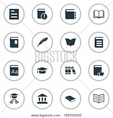 Vector Illustration Set Of Simple Books Icons. Elements Library, Recommended Reading, Book Page And Other Synonyms Blank, Note And Book.