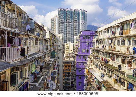 hong kong public slum estate at day