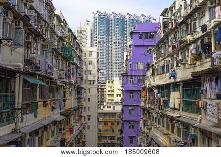 hong kong public slum estate at day