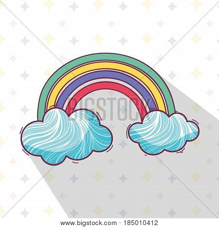 beautiful rainbow with nice clouds, vector illustration