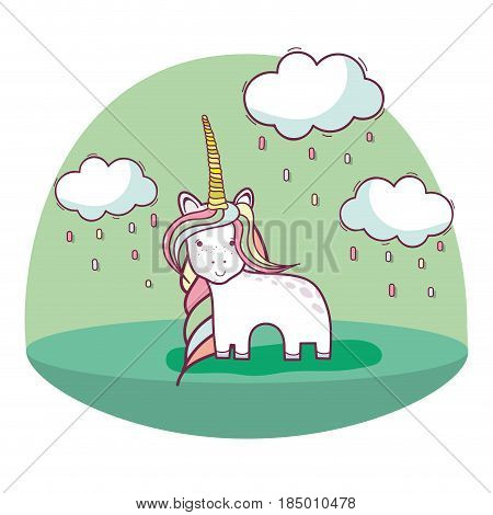 beautiful unicorn with long mane and nice land scape, vector illustration