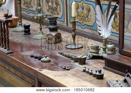 DUBROVNIK, CROATIA - NOVEMBER 08: The third oldest pharmacy in the world in Franciscan monastery in Dubrovnik, November 08, 2016.