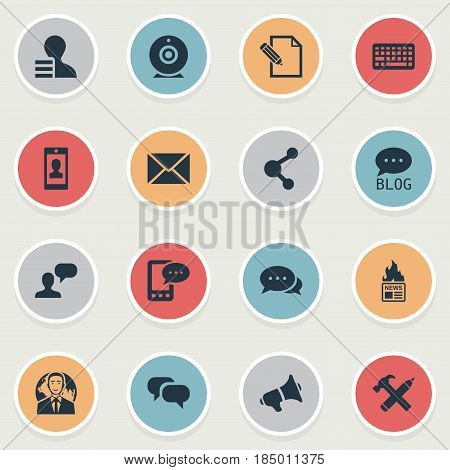 Vector Illustration Set Of Simple Blogging Icons. Elements Man Considering, Argument, E-Letter And Other Synonyms Profit, Hot And Message.
