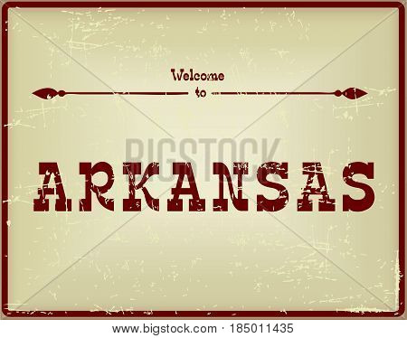 Vintage card Welcome to Arkansas. Old classic style.