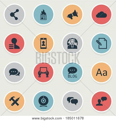 Vector Illustration Set Of Simple Blogging Icons. Elements Man Considering, Cedilla, Loudspeaker And Other Synonyms Overcast, Negotiation And Relation.