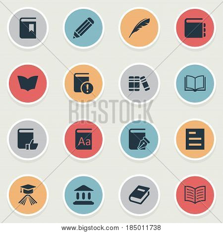 Vector Illustration Set Of Simple Education Icons. Elements Book Page, Journal, Reading And Other Synonyms Catalog, Writing And Graduation.