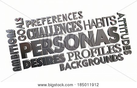 Customer Persona Word Collage Personal Profile 3d Illustration