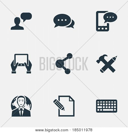 Vector Illustration Set Of Simple User Icons. Elements E-Letter, Argument, Man Considering And Other Synonyms Hand, Notepad And Network.