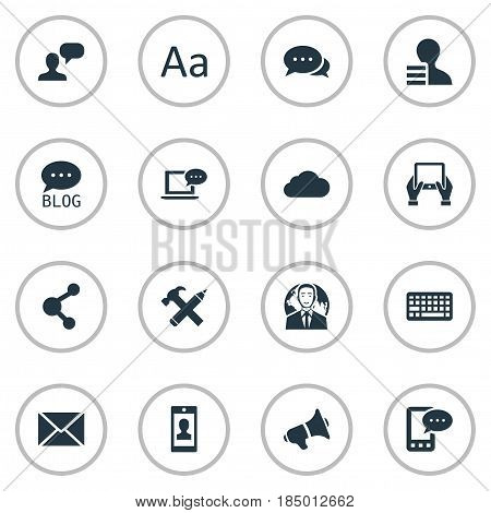 Vector Illustration Set Of Simple Blogging Icons. Elements, Man Considering, Keypad And Other Synonyms Network, Relation And Sky.