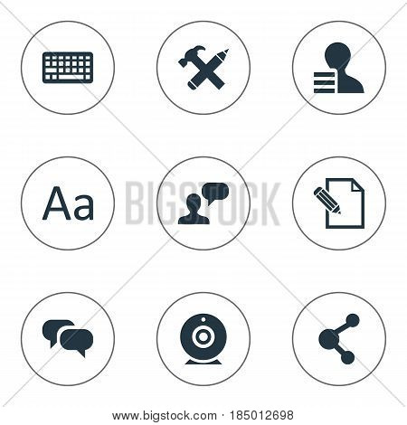 Vector Illustration Set Of Simple Newspaper Icons. Elements Man Considering, Keypad, Repair And Other Synonyms Considering, Pen And Pencil.