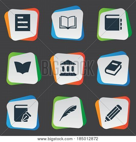 Vector Illustration Set Of Simple Books Icons. Elements Sketchbook, Pen, Plume And Other Synonyms Page, Quill And Pen.