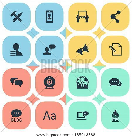 Vector Illustration Set Of Simple Newspaper Icons. Elements Gossip, Man Considering, Notepad And Other Synonyms International, Forum And Smartphone.