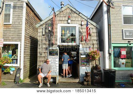 ROCKPORT, MA, USA - JUL. 25, 2015: Historic Gallery on Bearskin Neck in downtown Rockport, Massachusetts, USA.