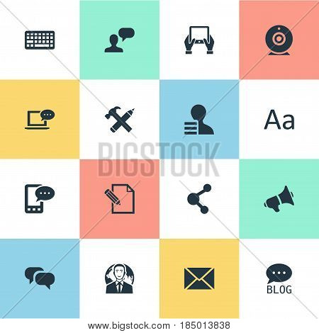 Vector Illustration Set Of Simple Newspaper Icons. Elements Man Considering, Gossip, Gain And Other Synonyms Forum, Post And Gossip.