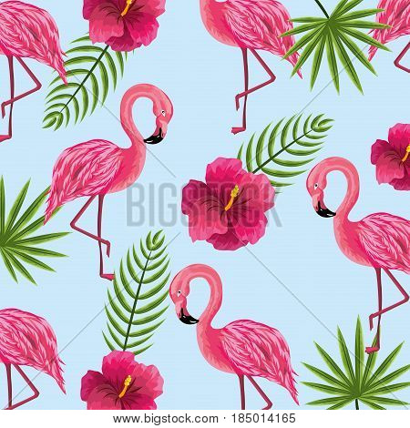 beauty and cute flowers plants with flamingo background, vector illustration