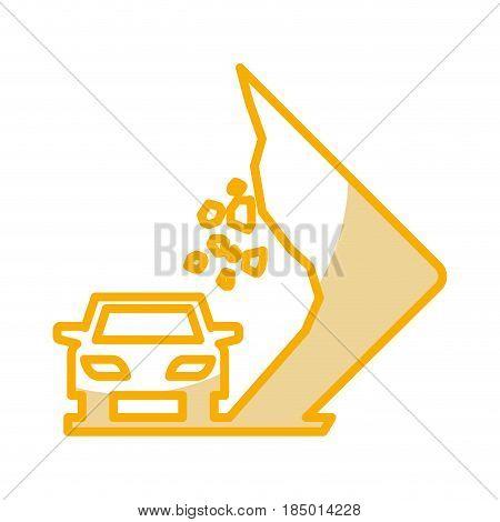 Landslides on the road traffic signal icon vector illustration design