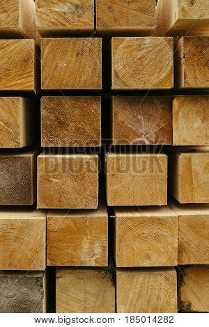 Planed timber sectional folded on each other. Deforestation. Enviroment protection. Eco.
