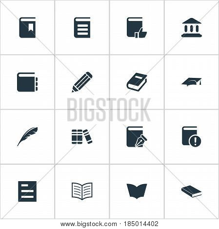 Vector Illustration Set Of Simple Books Icons. Elements Notebook, Reading, Sketchbook And Other Synonyms Hat, Academy And Writing.