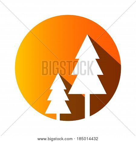 Pine trees in circle shape vector image