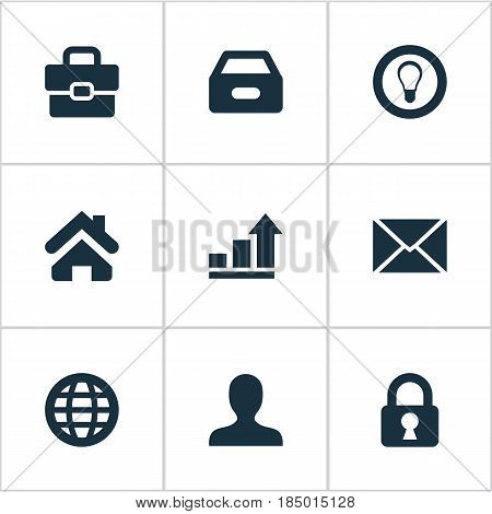 Vector Illustration Set Of Simple Business Icons. Elements Padlock, Bulb, Dossier And Other Synonyms Anonymous, Protected And Portfolio.